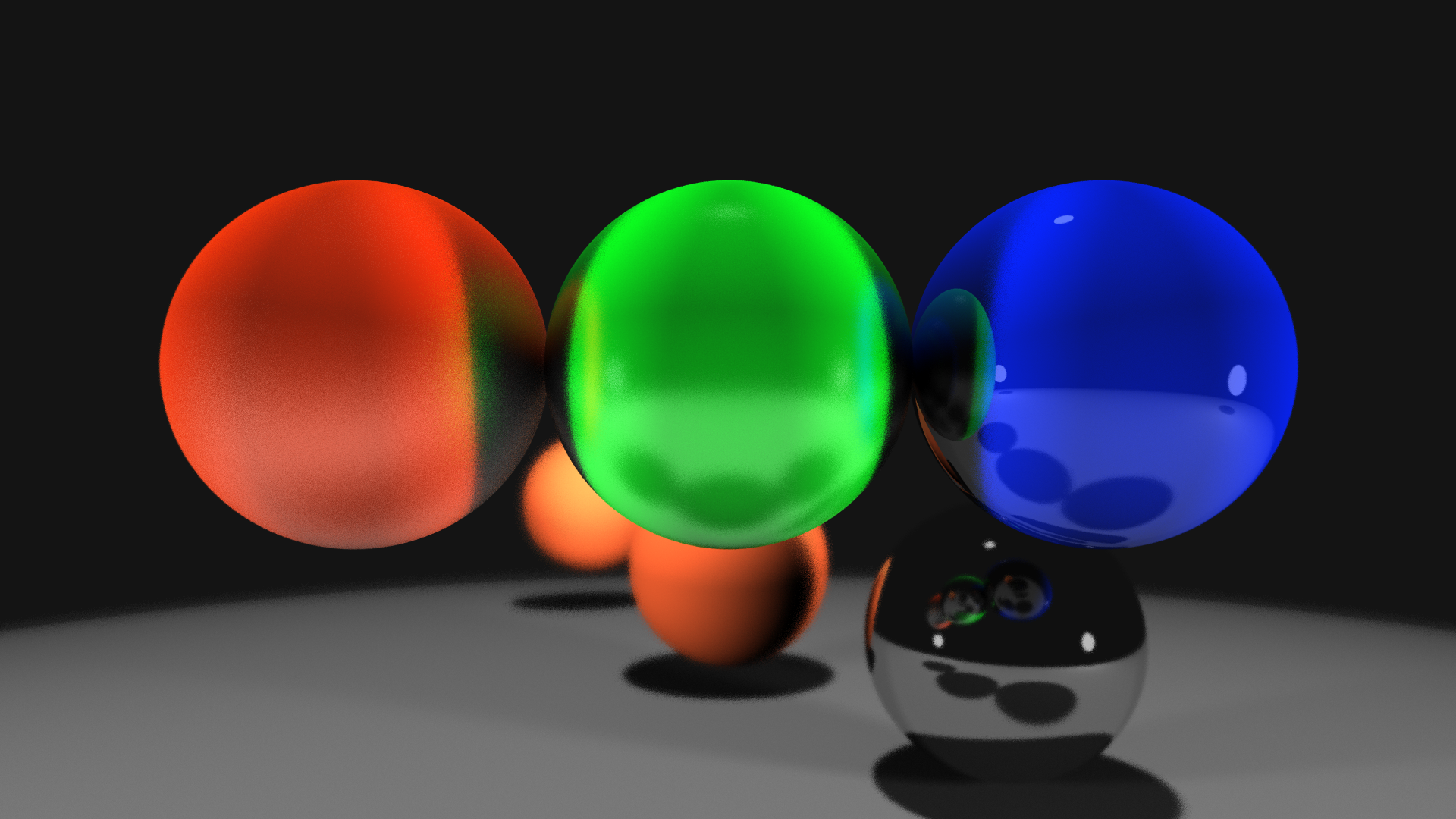 Raytraced result showing three spheres with focal depth